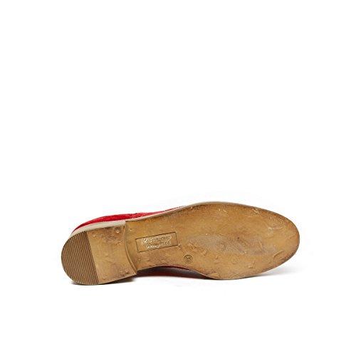 Oxford Piel Mujer Rojo Rojo de Frank Daniel Cordones Para Zapatos de Uq815wY
