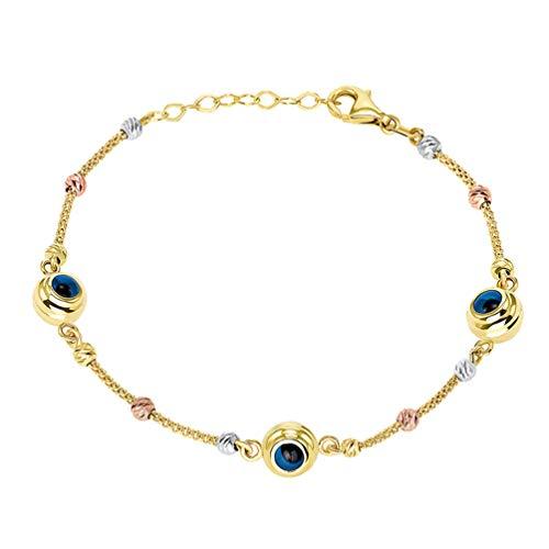 14k Tri-Color Gold Beaded Blue Evil Eye Mesh Chain Bracelet, 7.5