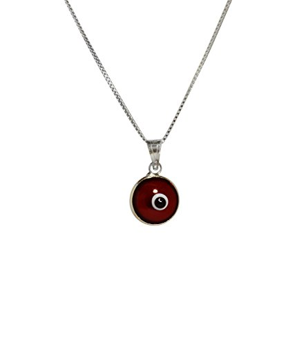 Silver Evil Eye Protection Necklace with RED Evil Eye Charm - 925 Sterling Silver 19 Inch Box Chain ()