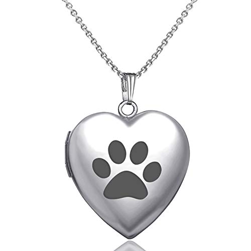 - YOUFENG Cute Dog Paw Print Love Heart Lockets Animal Necklace Pendant Living Memory Lockets 18K Rose Gold Plated (Stainless Steel Locket) (Silver Dog Locket)