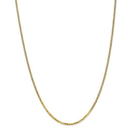 14k Yellow Gold 2.2mm Beveled Link Curb Necklace Chain Pendant Charm Flat Fine Jewelry Gifts For Women For Her