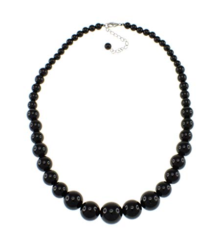 (Pearlz Ocean Natural Black Onyx Round Journey Beads Starnd Necklace for Women)
