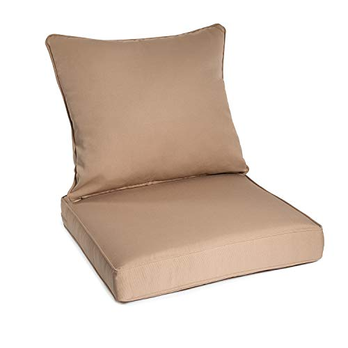 Deep Seating Settee - Art Leon Outdoor/Indoor Patio Deep Seat Chair Cushion Set,Including One Backrest and One Seat Cushion (Light Brown)