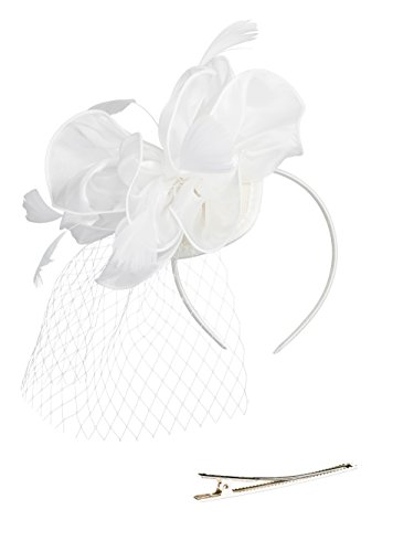 Zivyes Fascinators Hat Wedding Hat Flower Mesh Feathers Tea Party Headband Hair Clip Girls Women by Zivyes