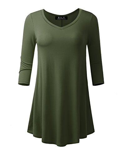 Shorts Short 3/4 Sleeve Sleeve - BILY Women's 3/4 Sleeve Tunic Top With Hidden Side Pockets Olive Medium