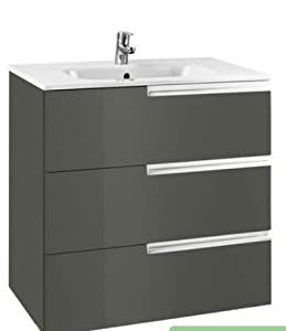 Roca victoria 3 drawer unit and basin 600 mm in grey 800 for 600 kitchen drawer unit