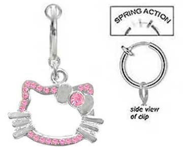 Amazon Com Fake Belly Navel Non Clip On Piercing Pink Hello Kitty