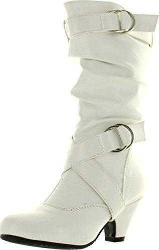 Forever Link Girls Kitten PU Heel Boot Shoes White 13]()