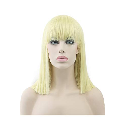 yaning 8 Colors Synthetic Hair Heat Resistant Blue Black Color Hair Wig Party Straight Short Cosplay Wigs for Women ()