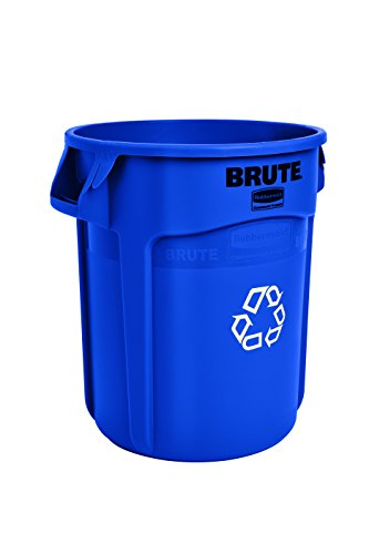 Rubbermaid Commercial Vented BRUTE Heavy-Duty Round Waste/Utility Container With Recycling Logo, 20-gallon, Blue (Curbside Recycling Containers)