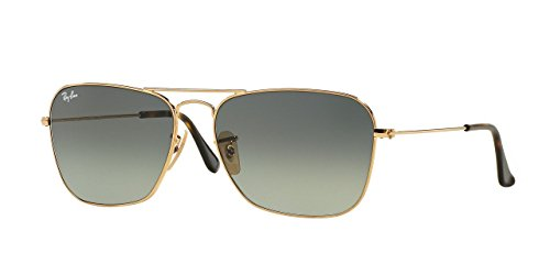 Ray-Ban Mens Caravan Sunglasses (RB3136 58) Gold/Grey Metal - Non-Polarized - - Rb3136 Polarized