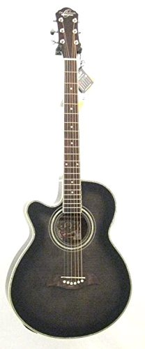 Oscar Schmidt 6 String OG10CE Cutaway Left Hand Acoustic-Electric Guitar. Flame Trans Black, Transparent (OG10CEFTBLH-A)