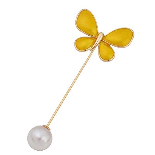 (OBONNIE Elegant Enamel Butterfly Lapel Stick Pin Jewelry Hat Scarf Suit Tie Brooch Pin Gold/Silver Tone)