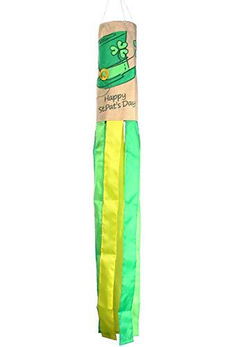 Toland Home Garden 162507 Saint Pat Top Hat Decorative Burlap Windsock, Multicolor ()