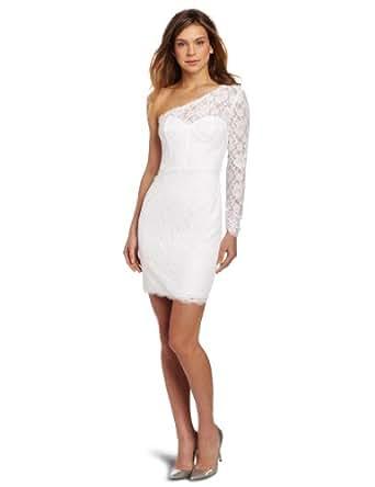 BCBGMAXAZRIA Women's Arlena One Shoulder Lace Dress, White, 0