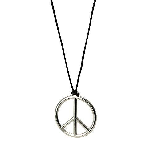 Skeleteen Metal Peace Sign Pendant - 1960s 1970s Hippie Party Accessories Necklace - 1 Piece