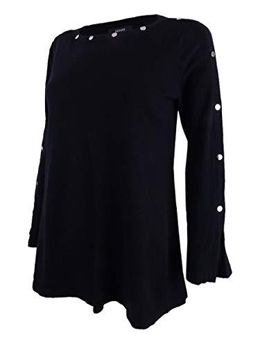 Alfani Womens Embellished Jewel Neck Pullover Sweater Black XL from Alfani