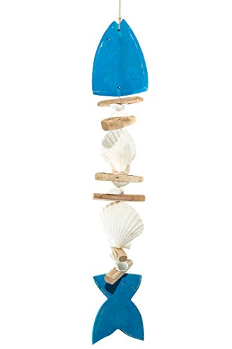 (Nautical Strand | Blue Wooden Fish Shell and Driftwood Strand | 24