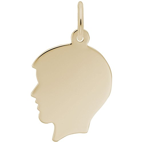 - Rembrandt Charms, Medium Boy Silhouette, 22k Yellow Gold Plated Silver, Engravable