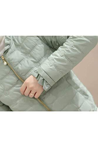 Casual Vintage Cerniera Con Invernali Giacca Chiusura Autunno Fashion Puro A Verde Colore Abbigliamento Donna Volant Trapuntata Manica Cappotto Coat Giacche Tasche Piumini Lunga PFFqH6