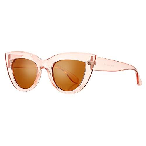 Retro Cateye Sunglasses for Women Fashion Mirror UV400 Protection Cat Eye Sun Glasses (Pink Frame/Brown -