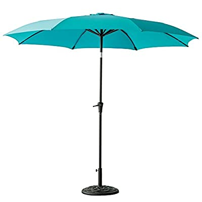 C-Hopetree 11 ft Outdoor Patio Market Umbrella with Tilt - Aqua Blue - IMPACT RESISTANT - Fiberglass rib tips provide peace of mind for those accidental blow overs. PREMIUM FABRIC - 200gsm Solution Dyed Polyester for superior fade endurance and optimal sun protection and shelter. Search B06XTZ76YG for a matching PROTECTIVE STORAGE COVER. SMOOTH CRANK WIND for effortless opening and smooth closing of your patio umbrella. NOTE: Base weight is not included. Search B0797VXG5W for a matching weighted stand. - shades-parasols, patio-furniture, patio - 319KhOWuieL. SS400  -