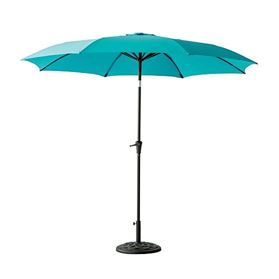 C-Hopetree 11' Outdoor Market Umbrella with Aluminum Pole and Tilt for Outside Patio Table Pool Garden Shade Yard or Balcony, Aqua Blue - IMPACT RESISTANT - Fiberglass rib tips provide peace of mind for those accidental blow overs. NOTE: The umbrella is NOT wind rated. To avoid damage it must be closed and secured in winds above 5 mph. DELUXE FABRIC - For optimal sun protection shading and shelter. Search B06XTZ76YG for a matching PROTECTIVE STORAGE COVER. PREMIUM CRANK MECHANISM for effortless opening and smooth closing of your patio umbrella. NOTE: Base weight is not included. Search B0797VXG5W for a matching weighted stand. - shades-parasols, patio-furniture, patio - 319KhOWuieL. SS570  -