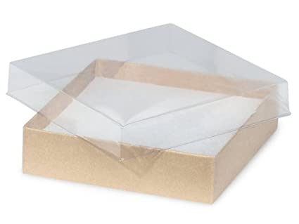 Amazon pack of 100 35 x 35 x 1 clear lid boxes wkraft pack of 100 35 x 35 x 1quot clear lid boxes wkraft m4hsunfo