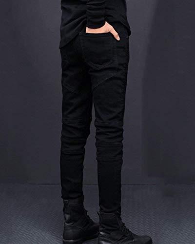 Fit Classiche Ragazzi Taglio Con waist76cm Destrutturato Uomo Denim Slim Motociclista Nero Size Casual Da Jeans color 30 Pantaloni Strappati O8zXXq