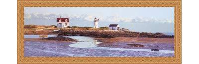 (Framed Goat Island Light II- 36x12 Inches - Art Print (Ornate Gold Frame))