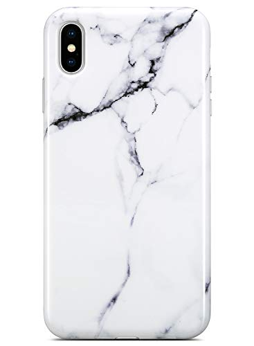 White Solid Case - Coolwee iPhone Xs Max Case,iPhone Xs Max Marble Case Slim Glossy White Marble Design for Women Girl Men Silicone Rubber Gel Bumper Soft TPU Case Cover for Apple iPhone Xs Max 6.5 inch [2018] -White