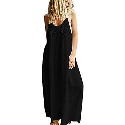 VZEXA Women Dress Ladies Summer Solid Sleeveless Lace Dress v Neck Maxi Dress