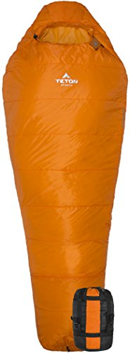 TETON Sports Altos-S 0ºF Ultralight Synthetic Mummy; 0 Degree Sleeping Bag Perfect for Backpacking, Hiking, and Camping; 3 Season Mummy Bag; Free Stuff Sack Included; Orange ()