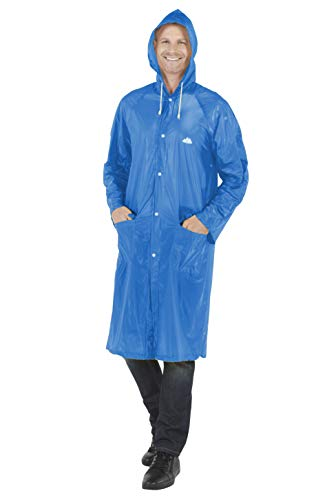 Wealers Emergency Adult Heavy Duty Lightweight PVC Trench Raincoat - Reusable| Portable| Compact| Adjustable Hood| Flap Pockets| Comes with a Small Carrying Bag (Blue, Medium - Length: 44 inches)