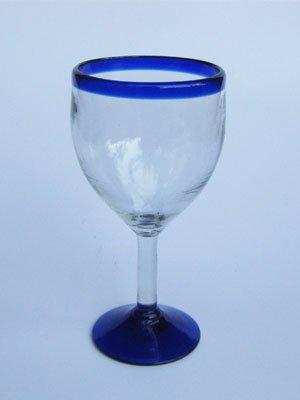 10 oz. Handblown Set of 5-8 58 Tall Tall Blue Wine Glasses