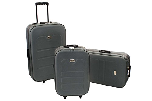 3 tlg EVA Kofferset grau Polyester Trolley Reisekoffer Koffe