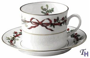 Royal Worcester Holly Ribbons Teacup and Saucer ()