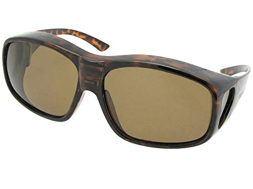 Style F19 Largest Polarized Fit Over Sunglasses With Sunglass Rage Pouch (Tortoise-Brown Lens, 2 ()