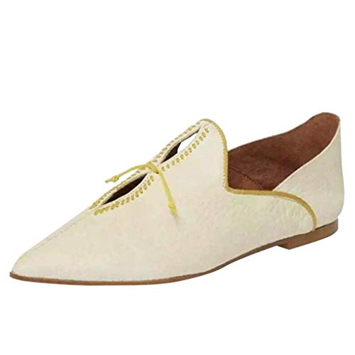 - JESPER Women Ladies Retro Pointed Toe Fur Leather Casual Flat Trendy Slip On Loafers Shoes Mule Slides White