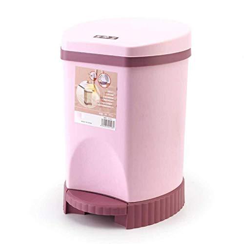 (ACDRX Removable Liner Bucket Wastebasket, Round Premium Step-On Waste Bin for Bathroom, Powder Room, Bedroom, Kitchen 10L(2.6 Gallon),Pink)