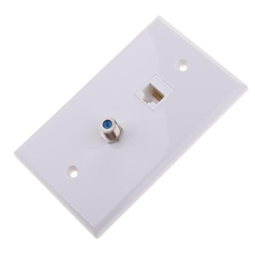 Socket Coaxial (Ethernet Coax RJ45 Coaxial F Type Wall Plate Jack Socket Outlet Cover Panel)