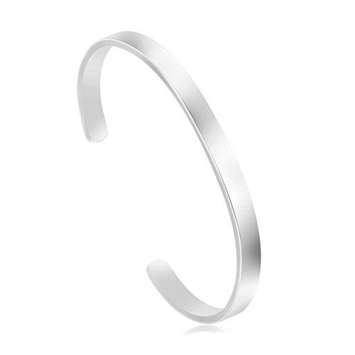 (Joycuff Blank Cuff Bracelet Stainless Steel Jewelry Minimalist Simple Open Bangle Silver)