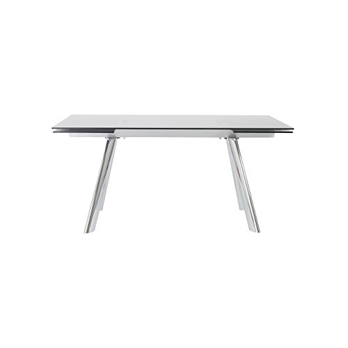 Eurø Style Eagan Smoked Gray Glass Top Extension Table with Two Leaves (Euro Style Glass Desk)