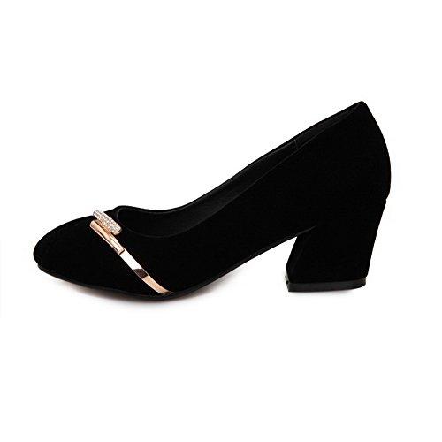 AgooLar Damen Rein PU Mittler Absatz Rund Zehe Ziehen auf Pumps Schuhe Schwarz