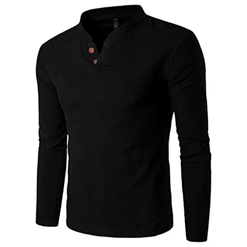 Long Sleeve Shirt 2019, Liraly Men's Spring Casual Splicing Henry Button Top(Black,US-L/CN-L2)