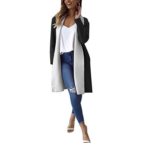 Black Coats Abrigo Invierno Thick Color Color abierto Coat M Cardigan tamaño grandes ZFFde Invierno Mujeres Block Long tallas ZO8dPwxq