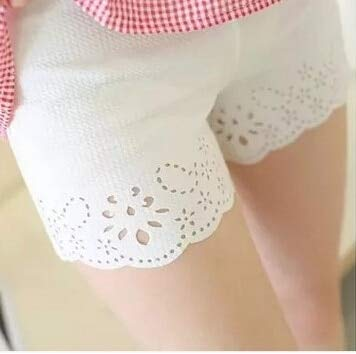 d7f3ee99fbc2b Summer Maternity Pants Hollow Out Three Minutes of Pants with Thin Outer wear  lace Shorts Exposed Pregnant Women Leggings : White: Amazon.in: Baby