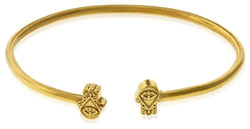 Alex and Ani Women's Hand of Fatima Cuff Bracelet, 14kt Gold Plated ()
