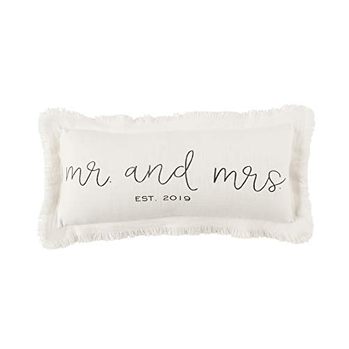 Mud Pie Mrs Established 2019 Wedding Accent Pillow White -
