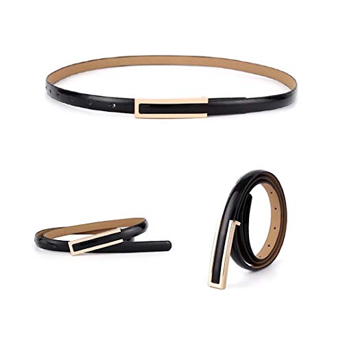 【CaserBay】Women's Fashion Elegant Skinny Patent Leather Belts Waistband Thin Waist Belt With Gold Color Alloy Buckle【Black】